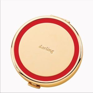 Kate Spade NY Cosmetic Compat MIRROR, Gold/Red